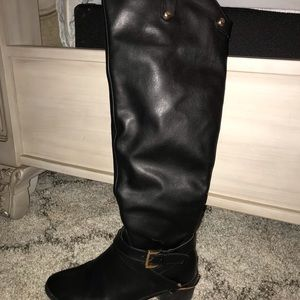 Faux black leather riding boots size 10